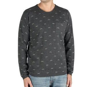 Heritage Crew Neck Mustache Print Sweater
